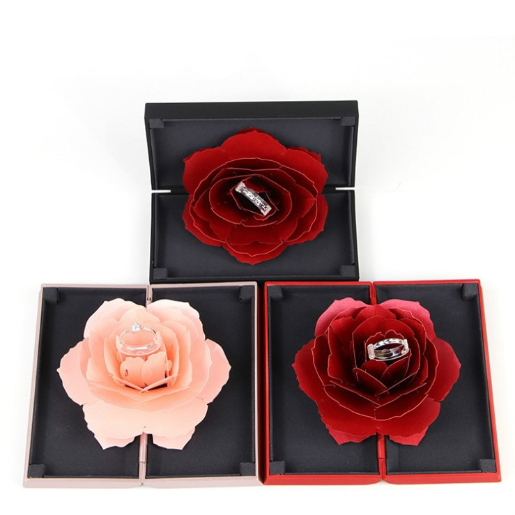 Foldable Rose Ring Box For Women 2019 Creative Jewel Storage Paper Case Small Gift Box For 5