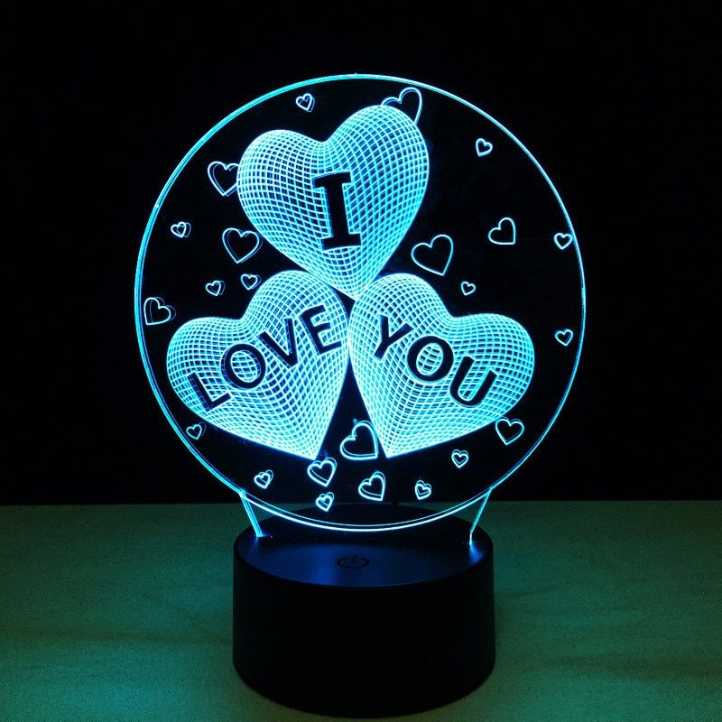 Gift for girlfriend I LOVE YOU Colorful 3D Hologram Lamp USB Acrylic Lights party favor Valentine