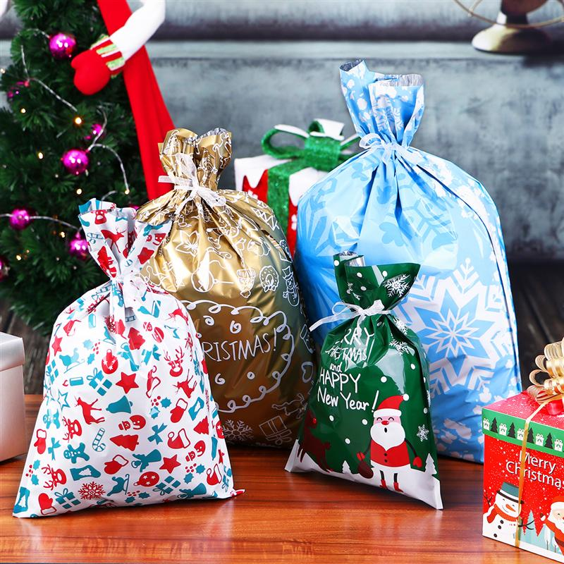 30PCS Christmas Gift Bags Assorted Styles Drawstring Gift Wrapping Christmas Goody Bags for the Holiday 5