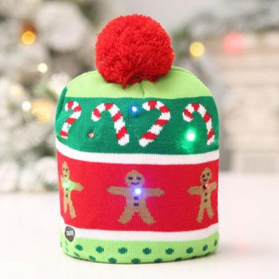 Christmas Hat with Light Soft Warm Christmas Tree Snowflake Gingerbread Man Print Christmas Hats Beanie Knitted 510x510 1