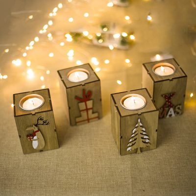 Navidad 2018 Wood Candle Holders Tealight Candlesticks Lantern Vintage Christmas Decorations for Home New Year Party 1