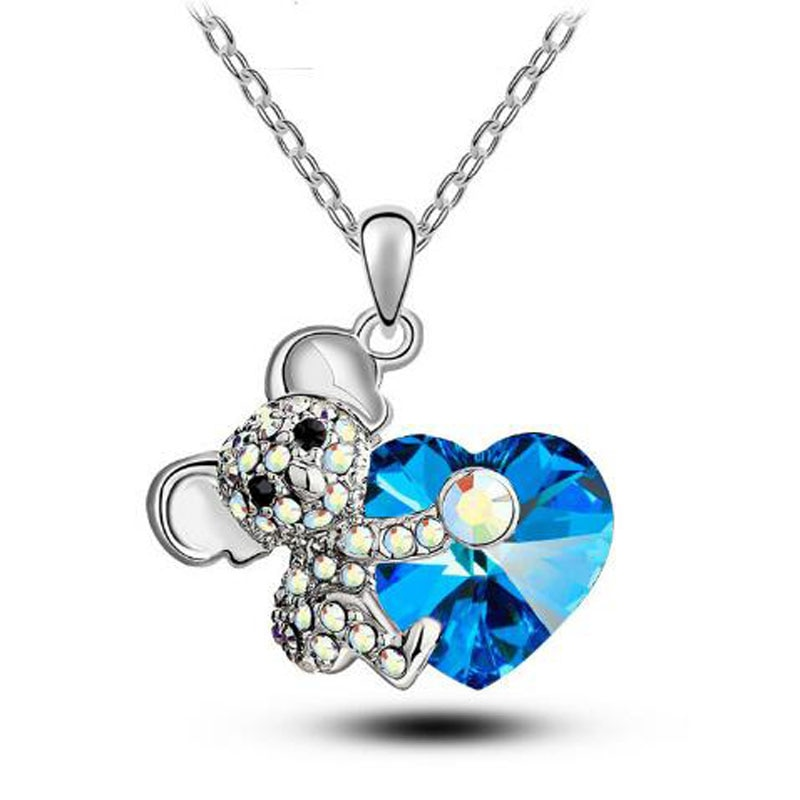 2020 Trendy Mouse Rat Heart Necklace for Women Crystal Animal Pendants Necklaces Sweater Necklaces Jewelry Valentine